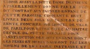 Extrait de l'inscription Dame Desvieux