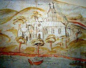 """Extrait d'un """"plan"""" de la seigneurie d'Annet daté du XVIe s."""
